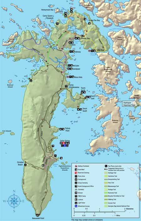 Georgian Bay Islands National Park Map Bay Islands National Park